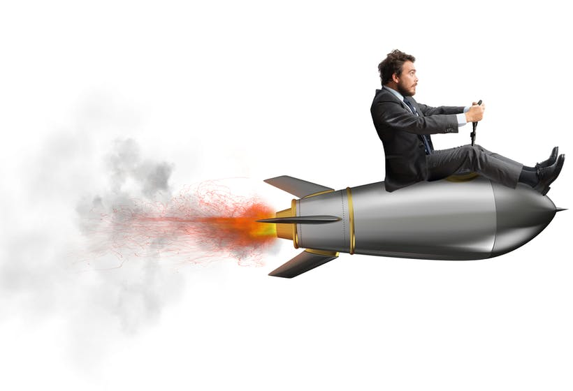 Businessman flying on rocket. How to manage performance.