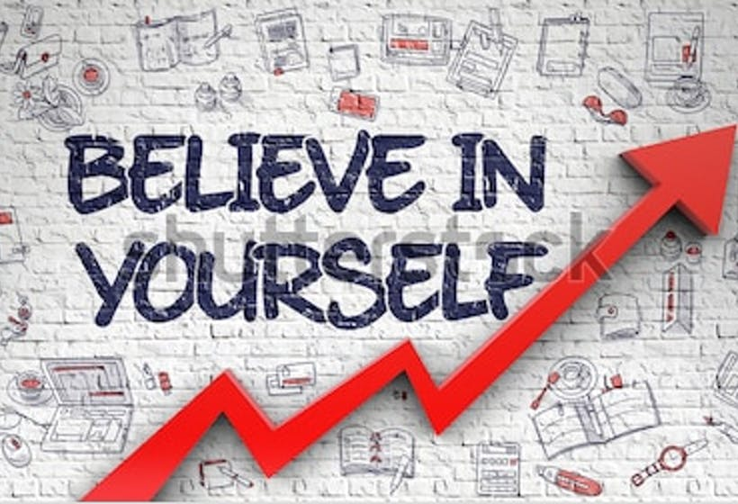 believe in yourself graphic art with a red chart arrow for growth