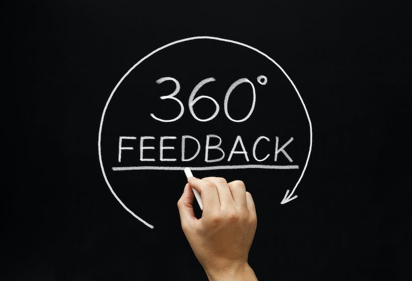 A Hand writing 360° Feedback with white chalk on a black board.